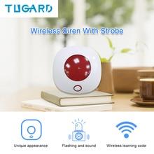 Sirene sem fio 433 mhz alarme mini sirene de chifre para casa segurança do assaltante sistema de som alarme 110db luz flash strobe sirene