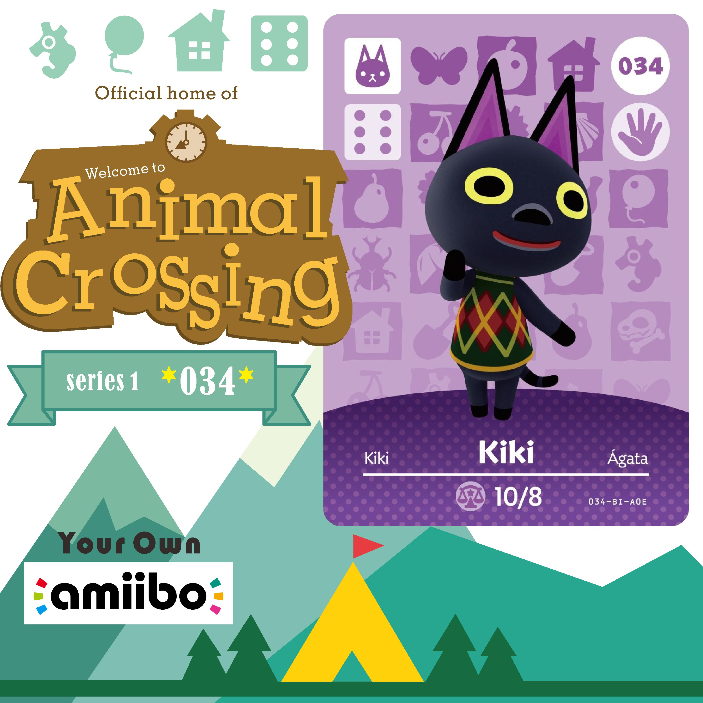 034 Kiki <font><b>Amiibo</b></font> <font><b>Card</b></font> Animal Crossing Series Animal Crossing New Horizons <font><b>Amiibo</b></font> <font><b>Card</b></font> Work for Ns <font><b>Switch</b></font> Games <font><b>Nfc</b></font> <font><b>Card</b></font> image