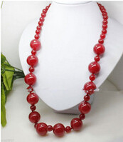 +++ 00271 fine word 23 inches 8-12mm red jade round beads long necklace Fashion Women jewelry Wholesale(China)