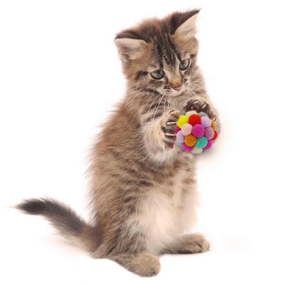 다채로운 탄력 공 고양이 장난감 수제 봉제 공 고양이 대화 형 장난감 미미 좋아하는 애완 동물 용품 고양이 장난감 인터랙티브