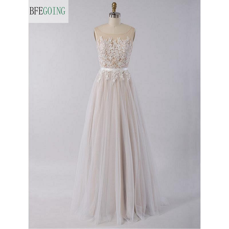 Ivory  Tulle Lace  Scoop Sleeveless Strapless  Floor-Length  A-line Wedding Dress  Custom Made