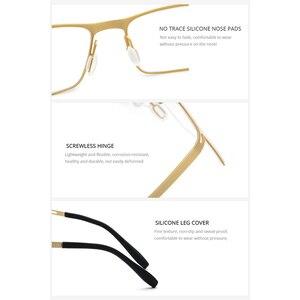 Image 4 - Fonex b titânio óculos quadro homem semi sem aro prescrição óculos ultraleve miopia óptica quadro screwless eyewear 874