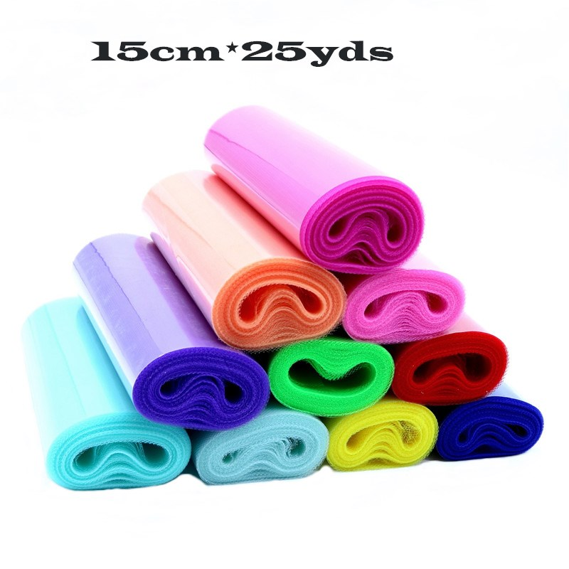 25 Yds 15 cm Tulle Roll Spool Organza Fabric Sewing Tutu Skirt Baby Shower Decor wedding Party Gift wrapping chair sash Supplies