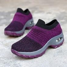 Baskets respirantes en maille pour femmes, chaussures décontractées à plateforme, vulcanisées, pour la marche
