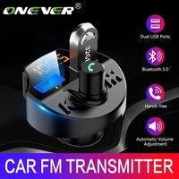Onever carro fm transmissor bluetooth 5.0 carro mp3 player modulador adaptador de tensão da bateria tf cartão mãos livres dupla usb chip inteligente Transmissores de FM     -