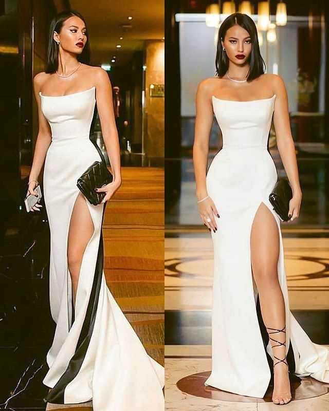 Elegant 2020 Cheap Evening Dresses Long Strapless Straight Evening Gowns for Party Sexy Split Formal Dress Women Robe De Soiree