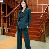 Woman suits lady suit office Casual Wear woman clothes 2020 spring new long Wide leg pants Office Lady Long sleeve coat green