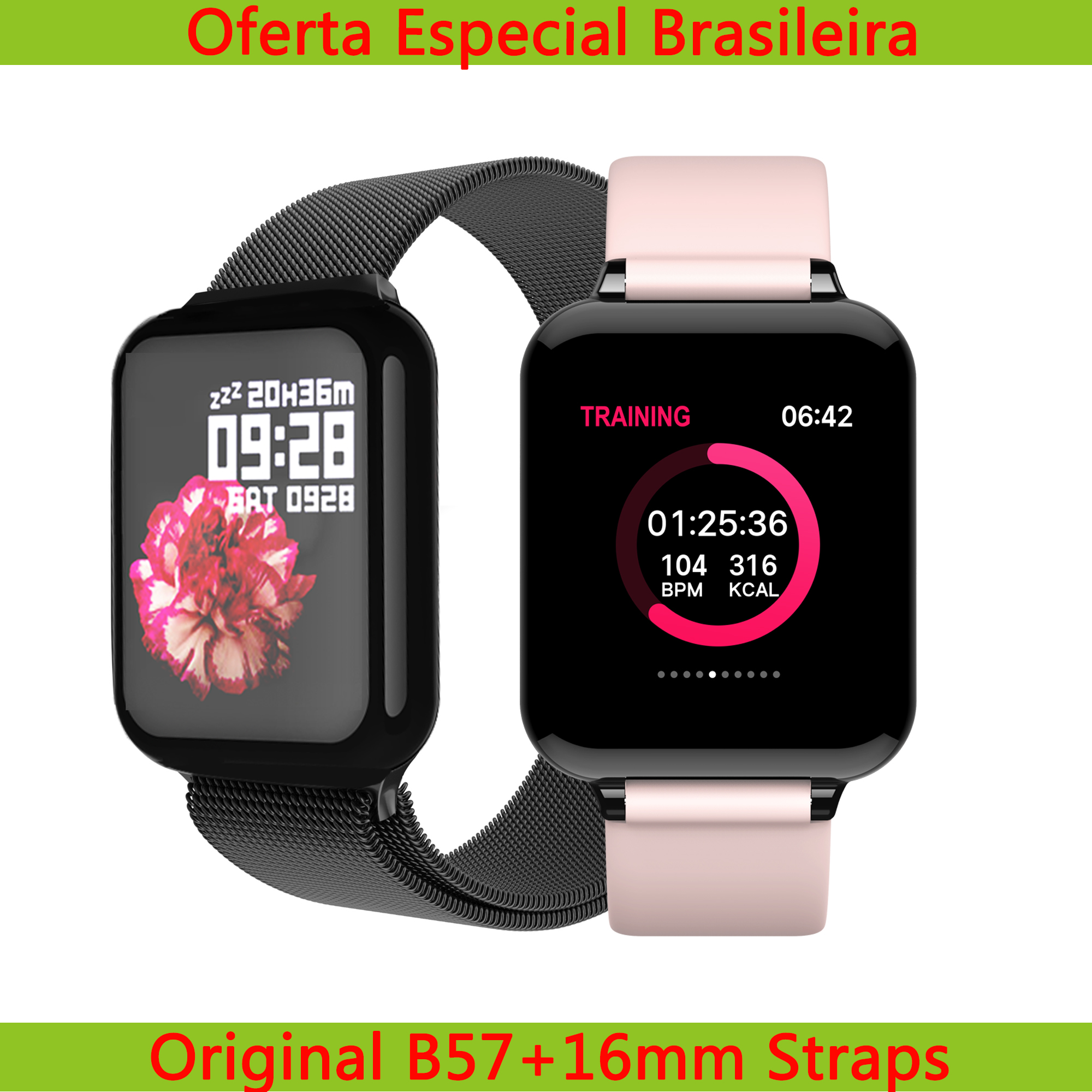 Torntisc Dropshipping B57 Women Smart Watch For Android iwo Watch Heart Rate Blood Pressure Hero Band 3 Smartwatch Men