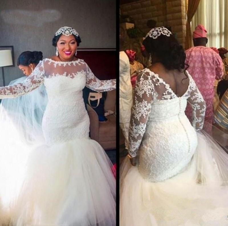 Sexy Wedding Dress Mermaid Long Sleeve Lace Beading Appliques 2020 New Design Bridal Dress Custom Made SH24