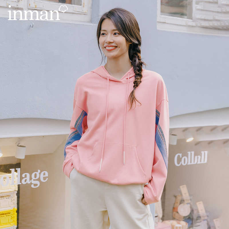 INMAN 2020 봄 신착 후드 형 숄더 슬리브 성격 패션 레저 컬러 매칭 루스 Soprt 스웨트