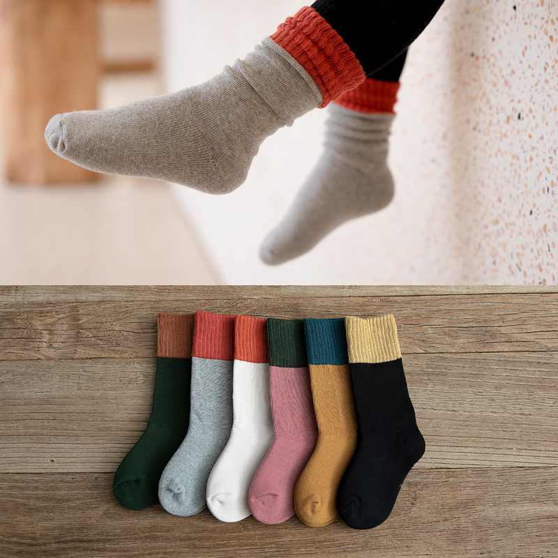 Autumn Winter Thick Cotton Children's Socks For Kids Two-color Stitching Fashion Knitted Baby Socks Girls Boys Sock Keep Warm