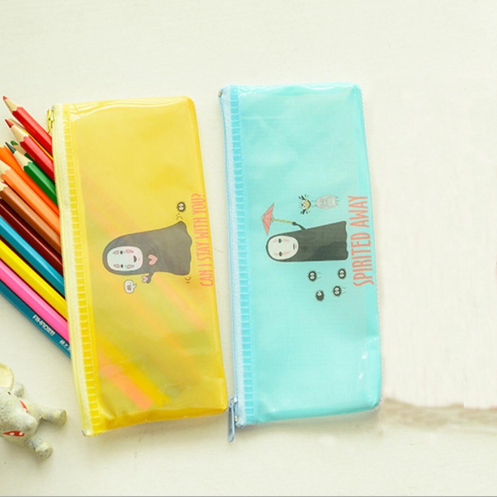 Kawaii Spirited Away Novelty No Face Man PVC Waterproof Pencil Bag Zipper Bag Pencilcase School Supply Student Prize Stationery