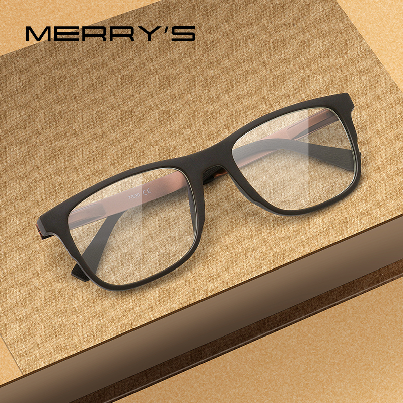 MERRYS DESIGN Men Square Glasses Male Fashion Myopia Prescription Eyeglasses TR90 Frame Titanium Alloy Legs S2033