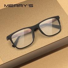 Merrys デザイン男性正方形メガネ男性ファッション近視処方眼鏡 TR90 フレームチタン合金脚 S2033