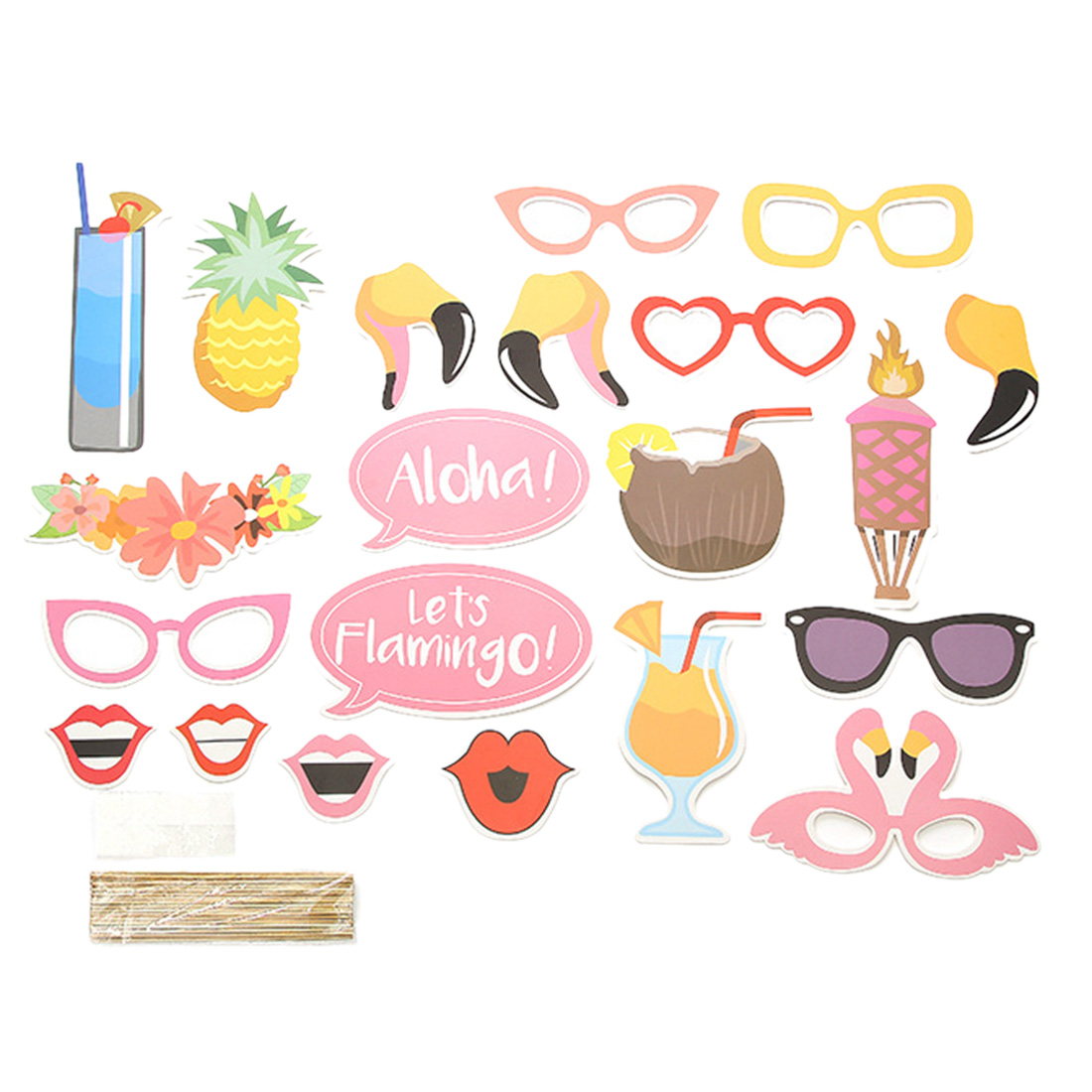 196Pcs Hawaii Themed Kid's Party Flamingo Photo Booth Props Balloons Summer Tissue Flower Tropical Leaf Party Decorations