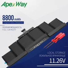 Apexway 11.26V A1494 Laptop Battery For Apple Macbook Pro 15″ A1398 Retina Late 2013 Mid 2014 ME293 With Screwdriver 8800 mAh