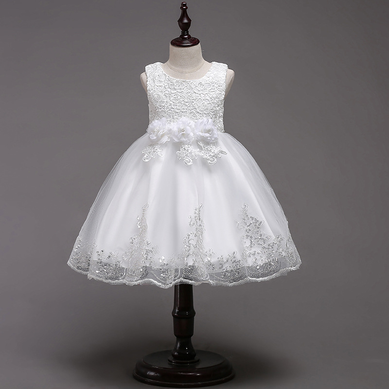 CHILDREN'S Dress Dresses Of Bride Fellow Kids Tutu Solid Color Flower Dress Princess Veil