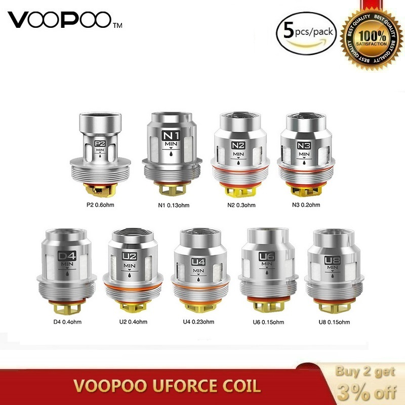 5pcs/pack Original VOOPOO UFORCE T2 Coil P2/N1/N2/N3/U2/U4/U6/U8/D4 Mesh Core For Voopoo Drag Kit Voopoo Drag Mini VS IJOY X3