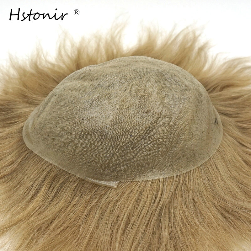 Hstonir Simulation Scalp Super Thin Skin Toupee 0.06mm V-Loop Indian Remy Hair System Replacement No Knots H079