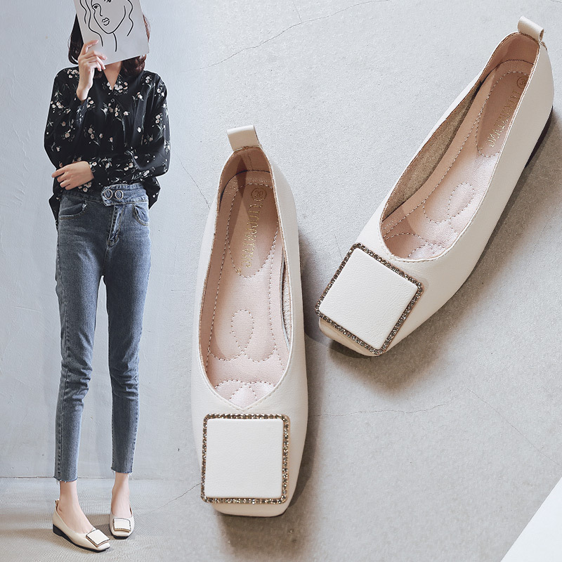 New Sexy SquareToe Ladies Pumps Casual Slip-On Square Heel Shoes Fashion Office Shallow Low Heel Women Pumps