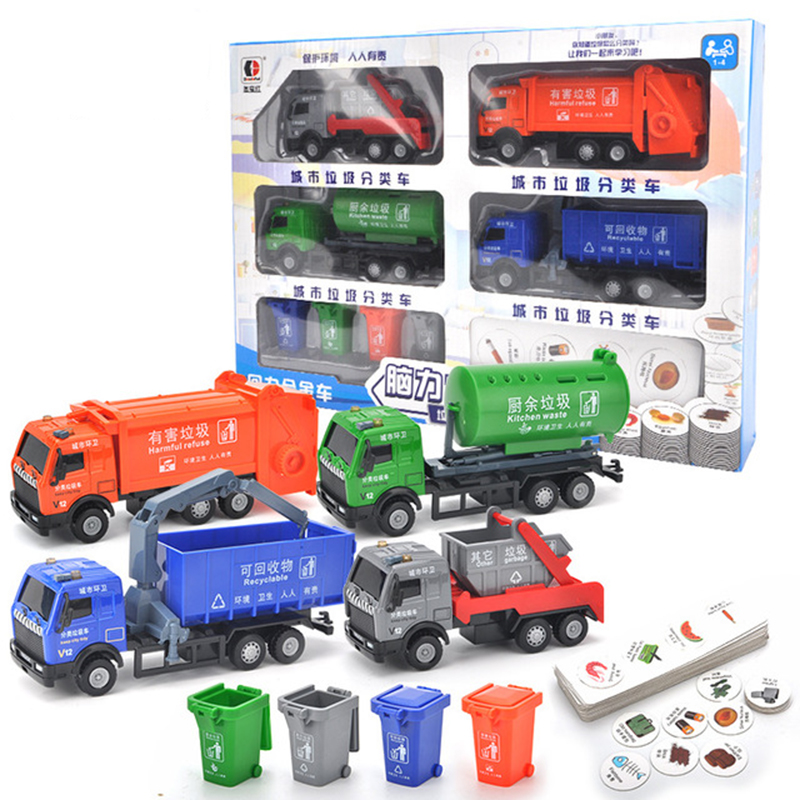 learning education Garbage classification Board games Toys Sanitation alloy garbage truck model set boys toy car Toy Vehicles