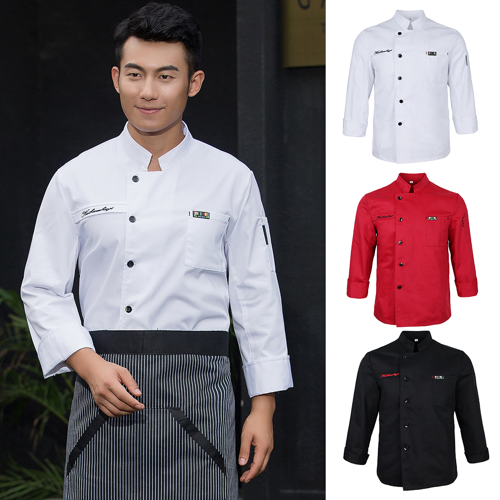 Men Women/'s Breathable Chef Coat Hotel Kitchen Bakery Cooking Dress Long Sleeve
