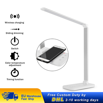 Wireless Charger LED Desk Lamp USB Charging Dimmable Eye-friendly Table Lamp with 5 Modes Touch Control Auto Timer Reading Lamp