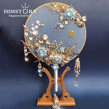 Wedding Bouquet Bride-Fan Crystal-Beads Hand-Holders Blue Pearl HIMSTORY Girls Chinese-Style