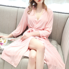 2019 Womens Terry Clothe Robe Turkish Cotton Kimono Collar Casual Autumn Winter Homme Sleepwear Solid Full Sleeve Outwear