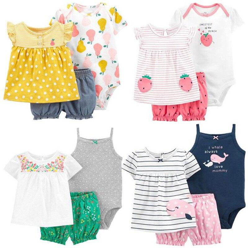 2021 תינוקת בגדי סט יילוד ילדה שמלת בגד גוף + חולצה + מכנסיים קצרים Infabt בגדי בנות קיץ תלבושת חמוד אופנה 0-2 שנה