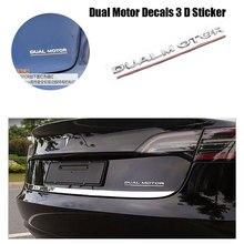 Per Tesla Modello 3 Doppio Motore Decalcomanie 3D ABS Auto Posteriore Tronco Emblema Adesivo Distintivo