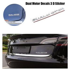 Image 1 - Per Tesla Modello 3 Doppio Motore Decalcomanie 3D ABS Auto Posteriore Tronco Emblema Adesivo Distintivo