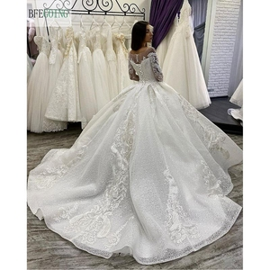 Image 2 - Ivory Lace Tulle  Beading Scoop Long Sleeves Floor Length Ball gown Wedding dress Chapel Train Custom made