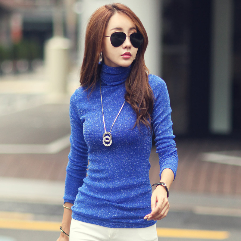 Soft Velvet Thicken Warm Winter Long Sleeve Basic Shirt Women Turtleneck Pullovers Slim Sexy Shiny Knitted Tops Female Jumper