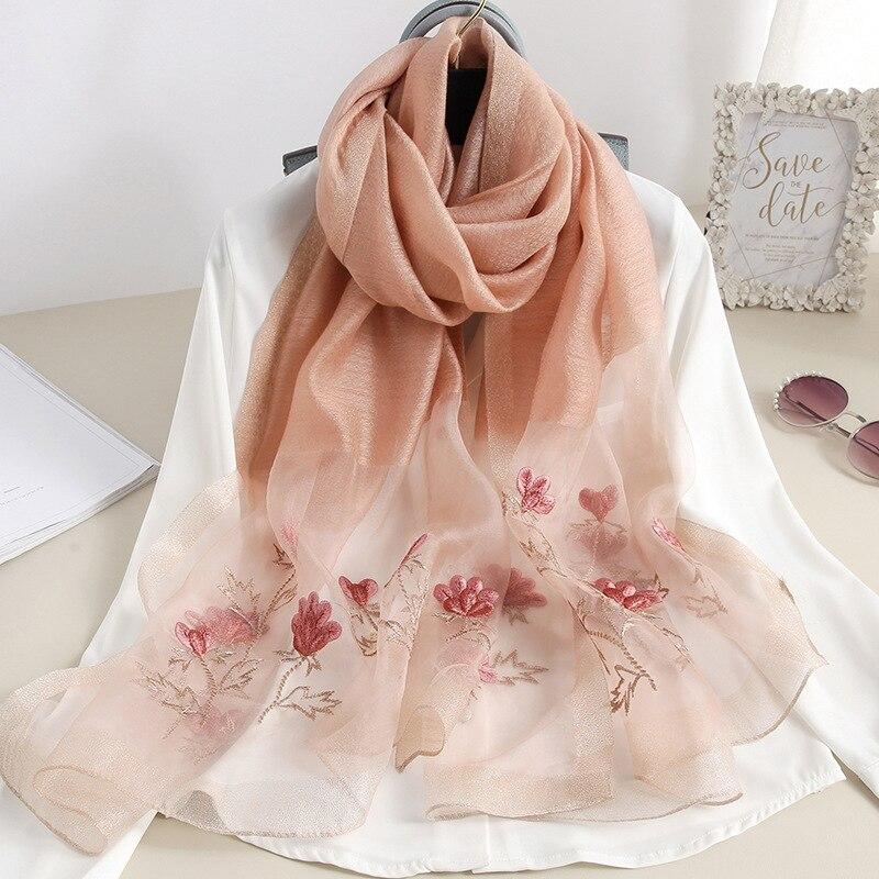 Summer Light Thin Silk Wool Scarf Female Long Shawl Women Sunscreen Bandana Floral Embroidery Mori Girl Cute Scarves Soft Stoles