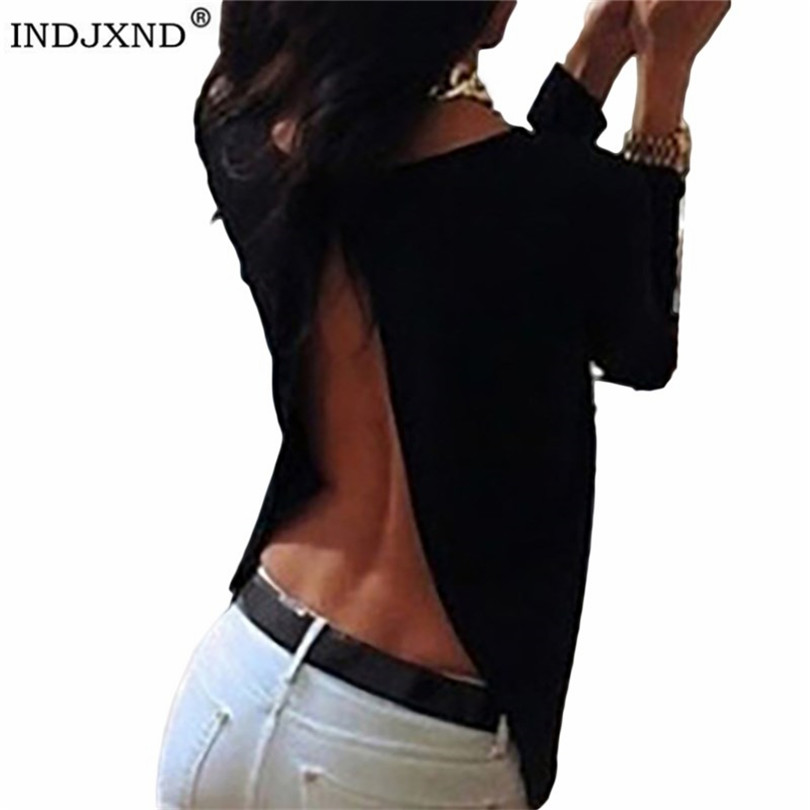 INDJXND Women's Long Sleeve Chiffon Shirt Summer Sexy Backless Split Blouse Back Perspective Round Neck Loose Short Blouse