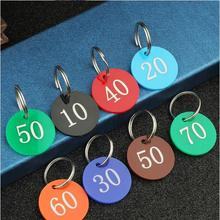 Dia 3cm Number Digital Round Card Label Tag Double Side Acrylic Plate Signage with key ring keychain Number 1-100
