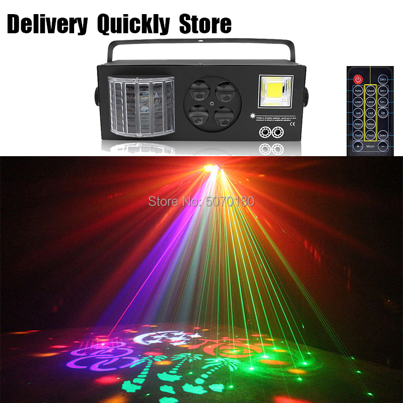 Designed For Europe/Russia Remote Control Dj LED Gobo Laser Strobe 4 IN 1 Light Disco Lite Good Use For Home Party Disco KTV