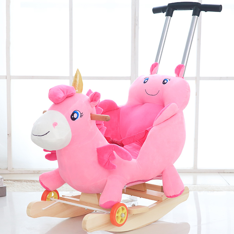 Multifunction Plush Stuffed Animal Chair With Wheel Wooden Animal Ride on Toys  Baby Push Trolley With Music Birthday Gifts