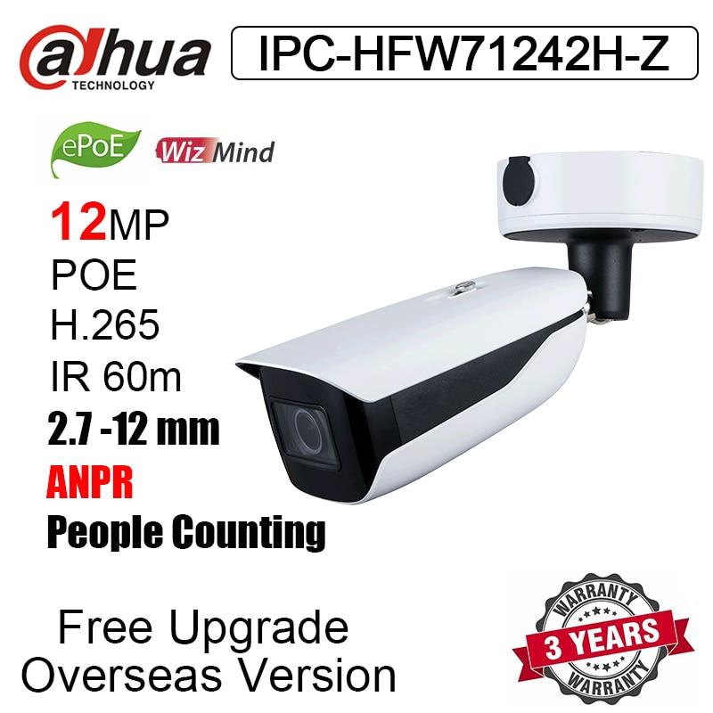 Новая цилиндрическая IP-камера Dahua 12 Мп, IPC-HFW71242H-Z IR 60m WizMind ANPR, людей с подсчетом, распознаванием лица, наружная сетевая камера видеонаблюдения