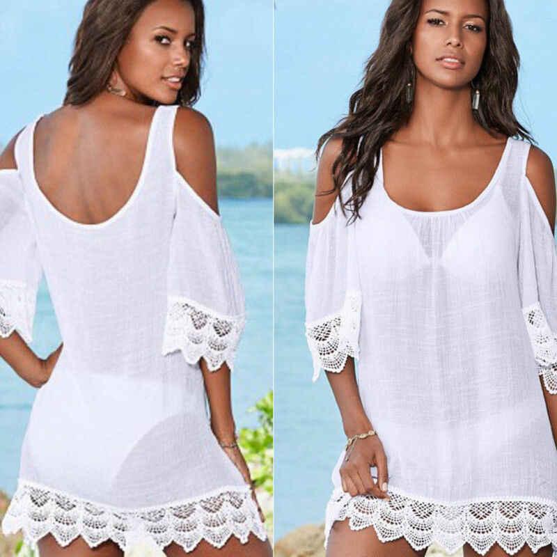 2019 Nuove Donne Sexy Del Merletto Crochet Costume Da Bagno Bikini Costumi Da Bagno Cover Up Nappa Spiaggia di Usura di Estate del Vestito Kimono Delle Signore Beachwear