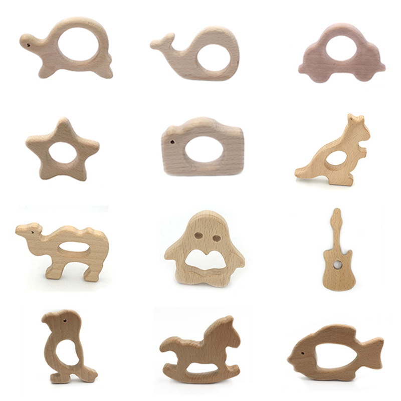 Baby Wood Teether Food Grade Wooden Necklace Tortoise Koala Whale Turtle Shape Safety Toys Certification Newborn Wooden Teething