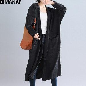 Image 2 - Dimanaf jaquetas femininas plus size longo casaco de veludo outono inverno tamanho grande cardigan roupas femininas solto oversized outerwear 2021
