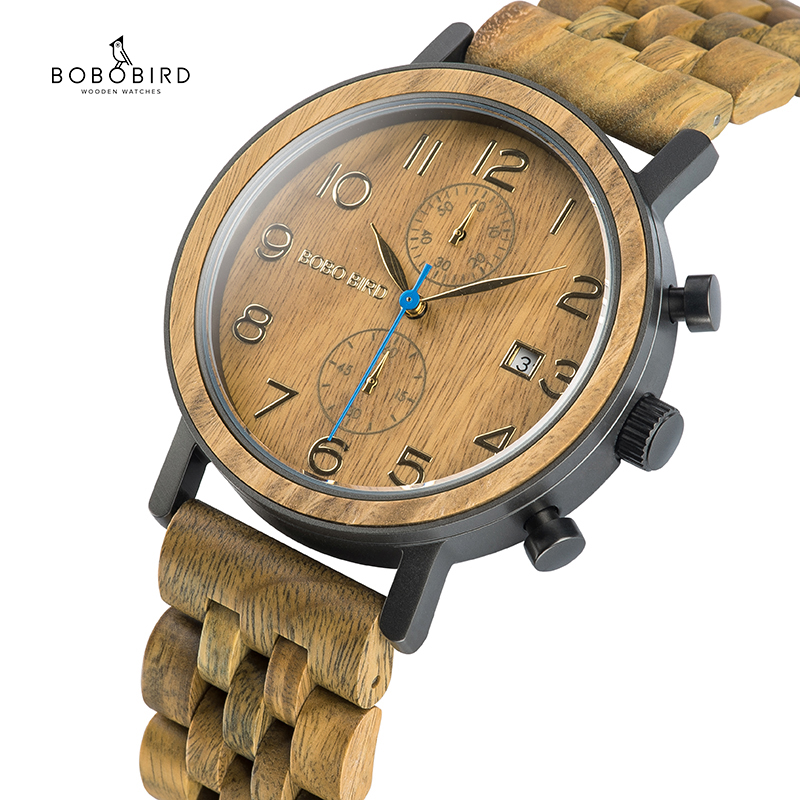 BOBO BIRD Relogio Masculino Business Wood Metal Watch Chronograph Quality Movement Wristwatch Gift Date Calendar Timepieces S08
