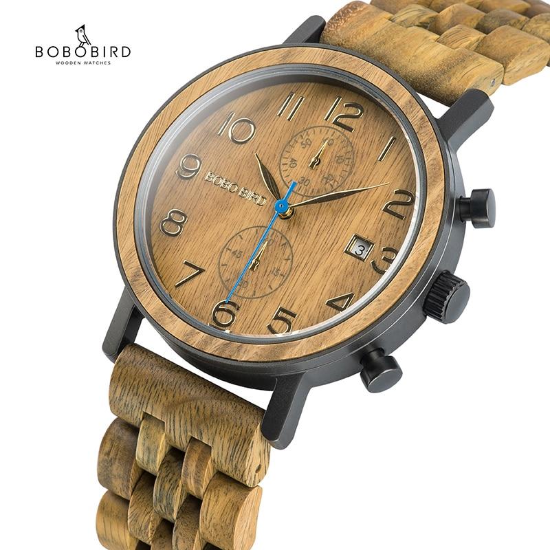 Bobo pássaro relogio masculino negócios madeira metal relógio cronógrafo movimento de qualidade relógio pulso presente data calendário relógios s08