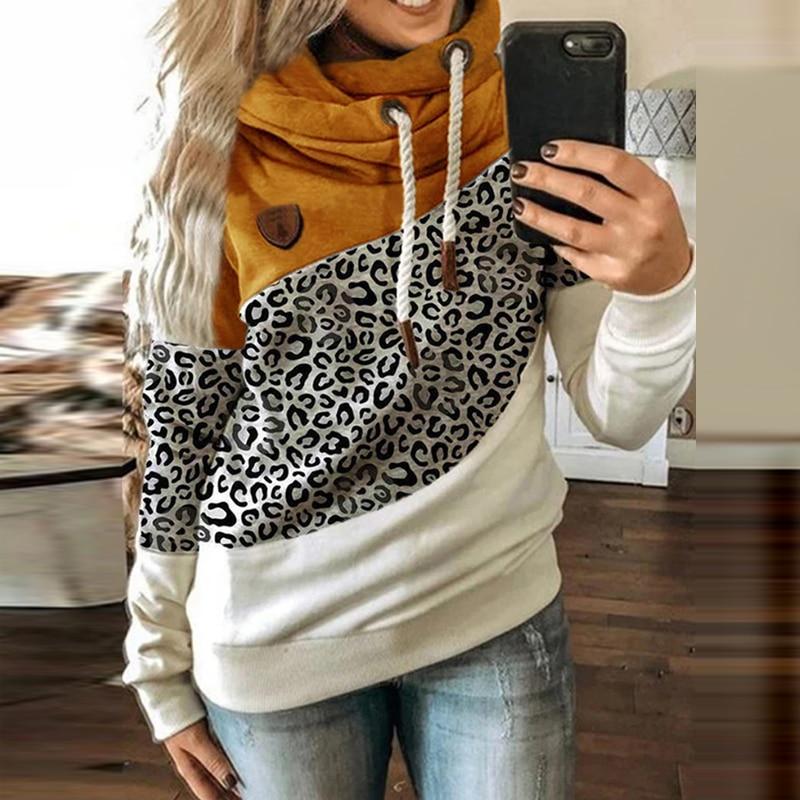 Women Patchwork Hooded Sweatshirt Autumn Winter Leopard Print Harajuku Drawstring Hoodie Casual Long Sleeve Pullover Tops