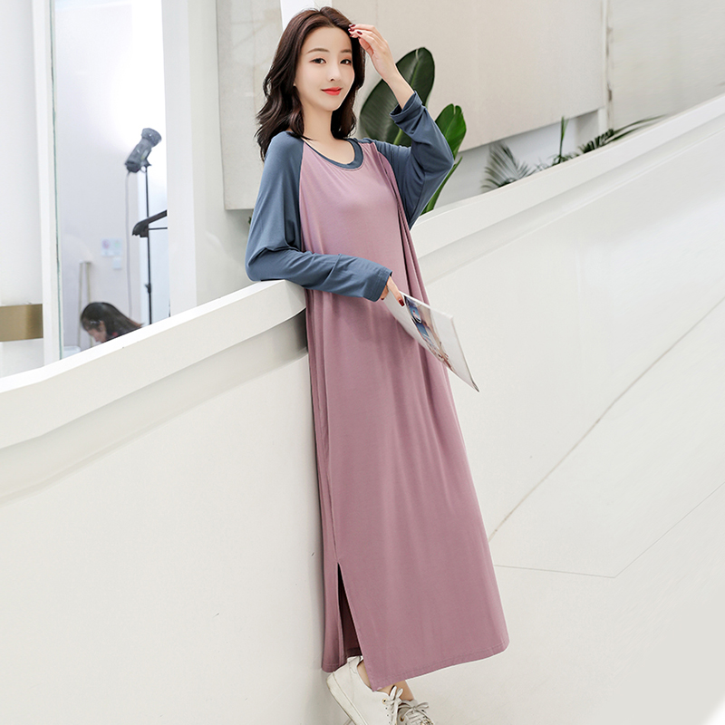 New Ladies Basic Sleep Shirt Sexy Lingerie Round Neck Long Nightgown Modal Sleepwear Summer Loose Pregnant Nighty Nightdress