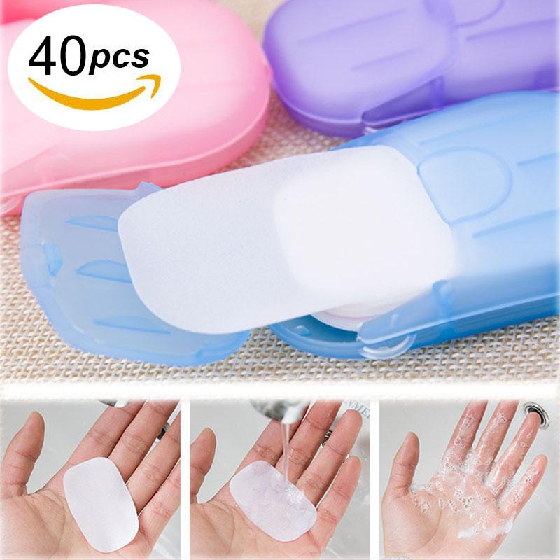 40PCS Portable Soap Paper Disposable Soap Paper Flakes Washing Cleaning Hand for Kitchen Toilet Outdoor Travel Camping Hiking