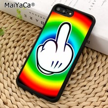 MaiYaCa Rainbow Middle Finger funny Phone Case Cover for iPhones 5 6 6s 7 8 X XR XS 11 pro max samsung galaxy S7 S8 S9 S10 Plus(China)