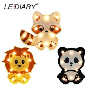 Image 1 - LEDIARY 3D צבעוני בעלי החיים LED לילה אורות חמוד פנדה האריה דביבון צורת המיטה שולחן מנורת לילדים צעצוע לילדים יום מתנה